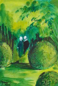 Le coin des buis / Acrylique / 50 x 70