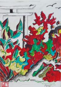 Végétal dense / Acrylique et encre / 50 x 70