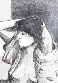 Femme en toilette / Mines de plomb / 50 x 70