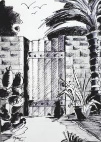 La porte du fond / Encre / 30 x 40