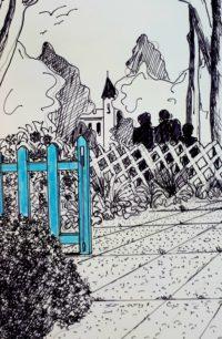 Au portail bleu / Encre et aquarelle / 30 x 40