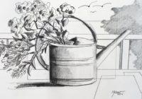 L'arrosoir fleuri 1 / Encre / 30 x 40