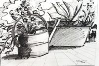 L'arrosoir fleuri 2 / Encre / 40 x 30