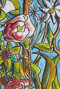 Milieu fleural / Aquarelle / 30 x 40