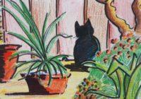 au chat noir / Aquarelle et encre / 40 x 30