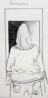 Françoise de dos / Encre / 30 x 40
