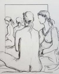 Nus au miroir / Encre / 30 x 40