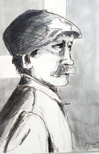 L'homme à la casquette / Encre / 30 x 40