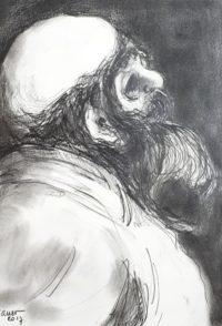 Moine en contemplation / Encre / 30 x 40