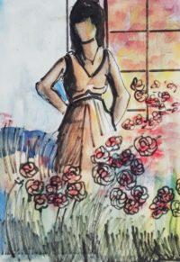 Jeune femme et son parterre fleuri / Encre et aquarelle / 30 x 40