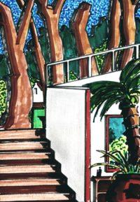 Musée de Céret - son escalier / Feutres / 30 x 40