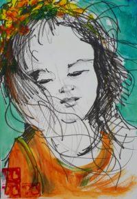 Portrait 1 / Acrylique et encre / 30 x 40