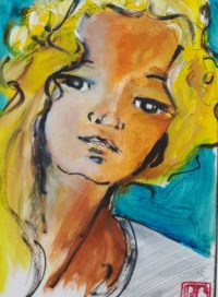 Portrait 2 / Acrylique et encre / 30 x 40