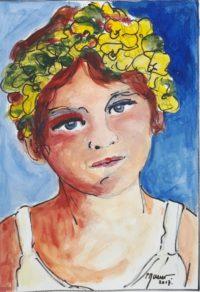 Portrait 4 / Acrylique et encre / 30 x 40