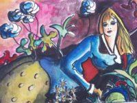 Muse du jardin / Aquarelle et encre / 40 x 30