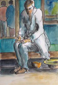 Le mendiant / Aquarelle / 50 x 70
