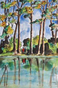 Reflets au lac / Aquarelle et encre / 50 x 70
