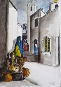 Ruelle du souk / Aquarelle et encre / 50 x 70