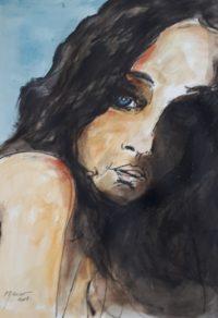 Les yeux bleus / Aquarelle et encre / 50 x 70