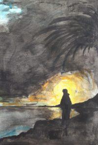 Silhouette au soir / Encre et aquarelle / 50 x 70