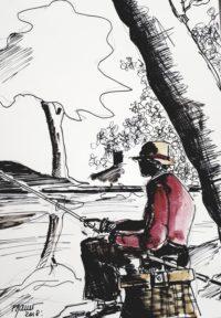 Le pécheur à la ligne / Encre et aquarelle / 30 x 40