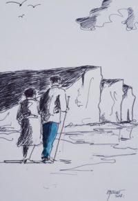 Promenade au pied des falaises / Encre et aquarelle / 30 x 40