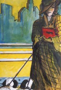 Femme aux chiens / Acrylique et encre / 50 x 70
