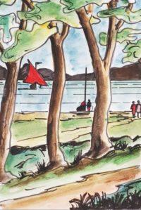 Rive du lac / Aquarelle et encre / 30 x 40