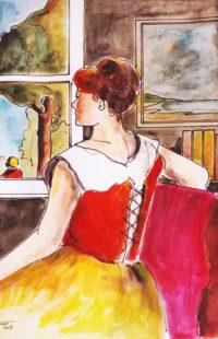 Femme au corset / Aquarelle / 50 x 70