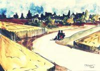 Route des champs / Aquarelle et encre / 40 x 30