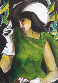 Femme aux gans blancs / Acrylique et encre / 50 x 70