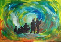 L'orchestre en folie / Acrylique et encre / 70 x 50