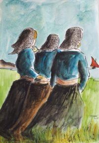 Les trois sœurs / Aquarelle et encre / 50 x 70