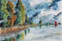 Remontée du fleuve / Aquarelle / 70 x 50