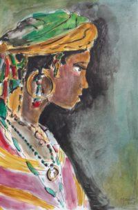 Jeune femme et ses atours / Aquarelle et encre / 50 x 70
