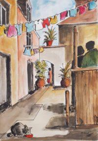 Ruelle au linge / Aquarelle et encre / 50 x 70