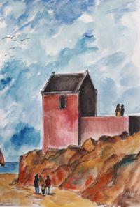 Chapelle du cap / Aquarelle et encre / 50 x 70