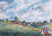 Trio aux champs / Aquarelle et encre / 70 x 50