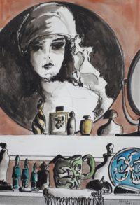 Sur la coiffeuse / Encre et aquarelle / 50 x 70