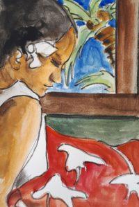 Tahitienne endormie / Aquarelle et encre / 30 x 40