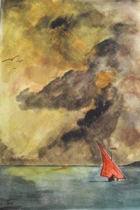 Coucher et voilier rouge / Aquarelle / 50 x 70