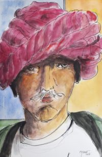 Homme au turban / Aquarelle et encre / 50 x 70