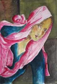 Au turban rose / Aquarelle / 50 x 70