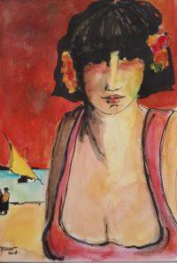 Portrait au voilier jaune / Aquarelle et encre / 50 x 70
