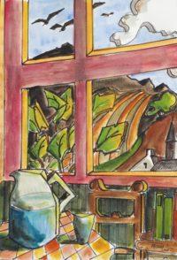 De la fenêtre / Aquarelle et encre / 50 x 70