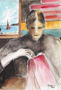 Couseuse au travail / Encre et aquarelle / 50 x 70