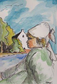 Profil breton / Aquarelle et encre / 50 x 70