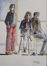 Trio en pose 2 / Encre et aquarelle / 30 x 40