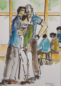 Trio en pose 1 / Encre et aquarelle / 30 x 40