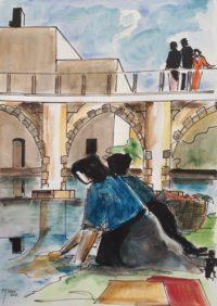 Lavandières au pont / Aquarelle et encre / 50 x 70